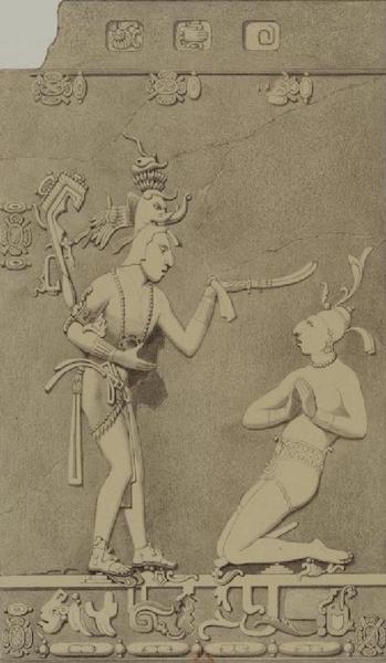 Monuments anciens du Mexique - Pt. XIII, Fig. 2 - Relief du pilier exterieur ouest (1866)