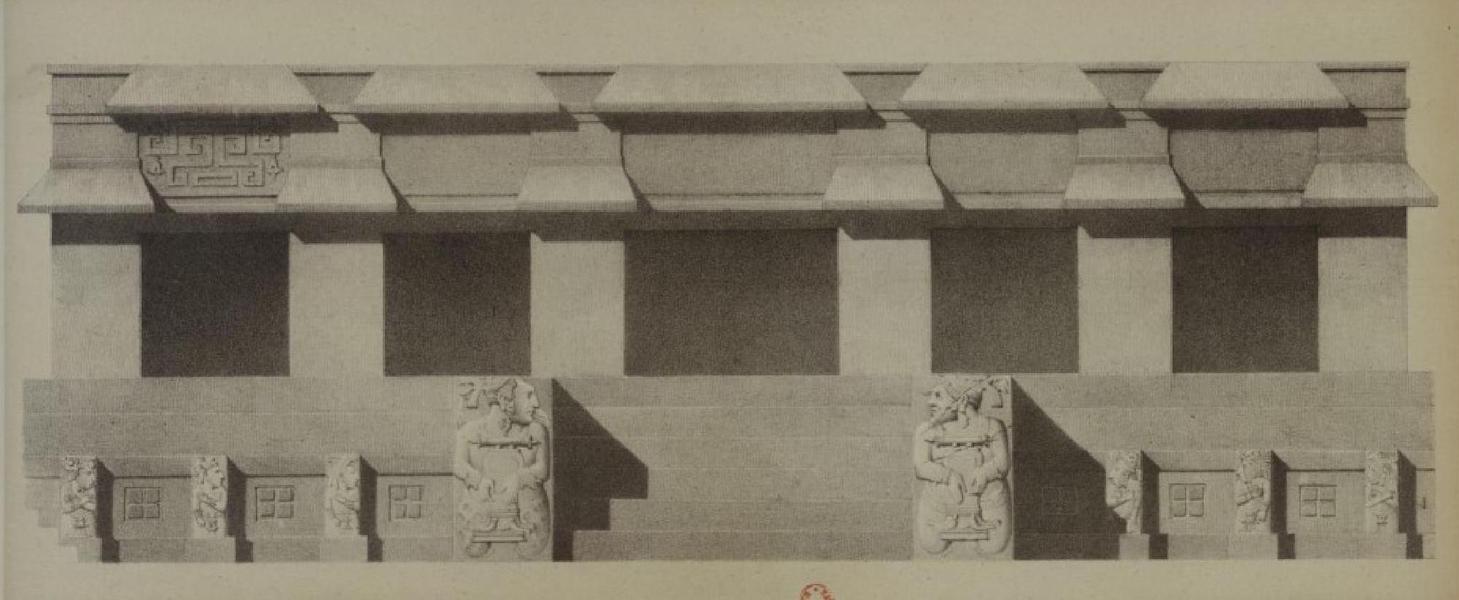 Monuments anciens du Mexique - Pt. XIV - Elevation de la partie de la galerie qui donne interieurement [II] (1866)