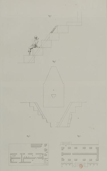 Monuments anciens du Mexique - Pt. XV, Fig. 1 - Profile indiquant les cinq marches qui descendent dans la premiere cour du palais, Pt. XV, Fig. 2 - Details architectoniques des parties principales du temple aux deux figures colossales, Pt. XV, Fig. 3 - Plan de la maison de la Reine (1866)