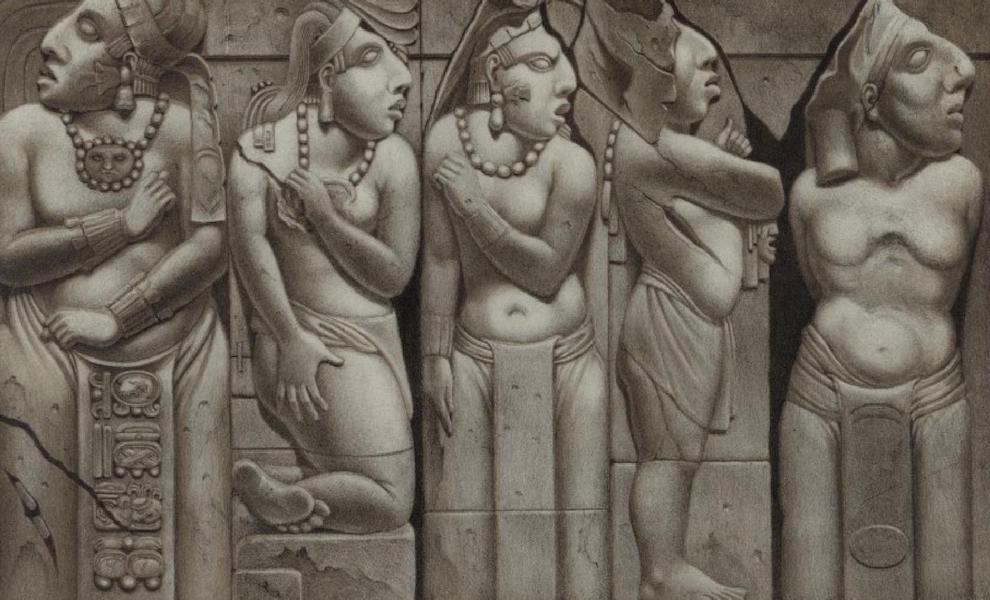 Monuments anciens du Mexique - Pt. XVI - Groupe des quatre figures qui se trouvent a guache ou au nord de l'escalier [I] (1866)