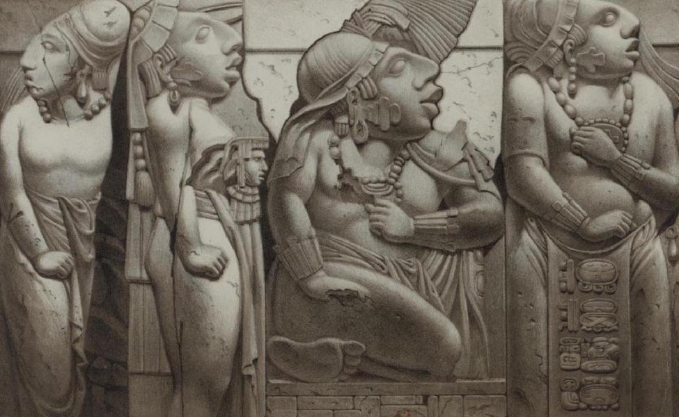 Monuments anciens du Mexique - Pt. XVI - Groupe des quatre figures qui se trouvent a guache ou au nord de l'escalier [II] (1866)