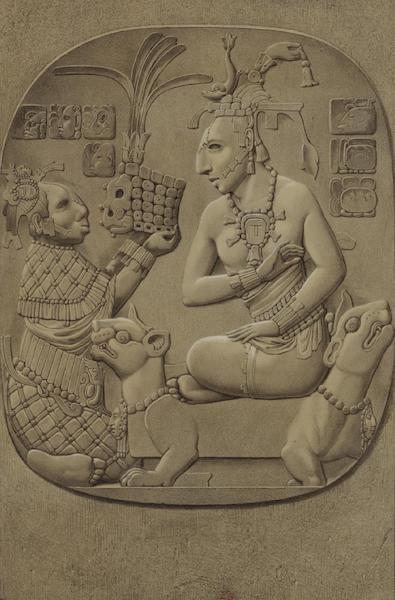 Monuments anciens du Mexique - Pt. XVII - Ce beau bas-relief en pierre semble representer une reine accroupie sur un riche sopha (1866)