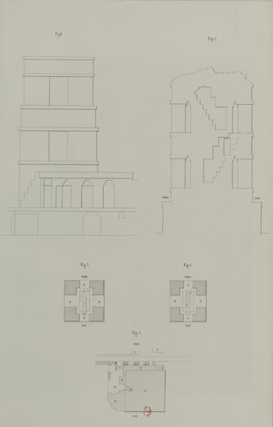 Monuments anciens du Mexique - Pt. XIX, Fig. 1 - Elevation exterieure de la tour : cette planche est rendue inutile par la vue pittoresque descrite plus haut  Pt. XIX, Fig. 2 - Coupe en elevation qui fait voir les deux etages de la tour  Pt. XIX, Fig. 3 - Plan des deux etages de la tour [I]  Pt. XIX, Fig. 4 - Plan des deux etages de la tour [II]  Pt. XIX, Fig. 5 - Plan de la base de la tour (1866)