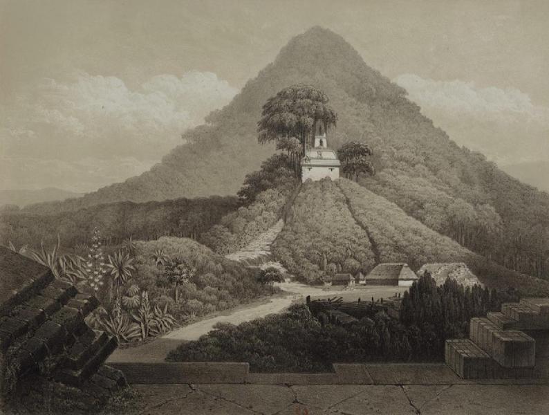 Monuments anciens du Mexique - Pt. XX - Vue pittoresque du Temple de la Croix, prise de la porte d'entree du palais; on voit au pied de la pyramide l'habitation que je m'y etais construite  (1866)