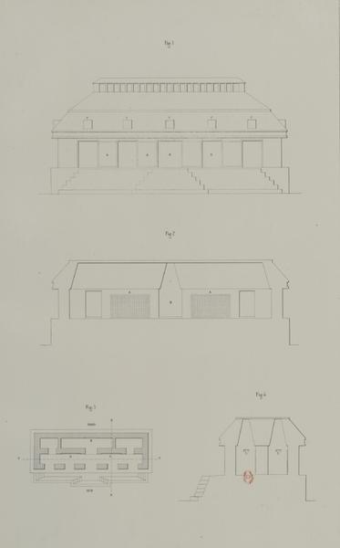 Monuments anciens du Mexique - Pt. XXXIII, Fig. 1 - Elevation exterieure de l'edifice  Pt. XXXIII, Fig. 2 - Elevation interieure montrant les deux tables de cotte galerie  Pt. XXXIII, Fig. 3 - Plan par terre du temple aux trois tables  Pt. XXXIII, Fig. 4 - (1866)
