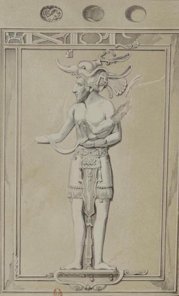 Monuments anciens du Mexique - Pt. XXXIX (droite) - Femme tenant un ornement de la main droite (1866)