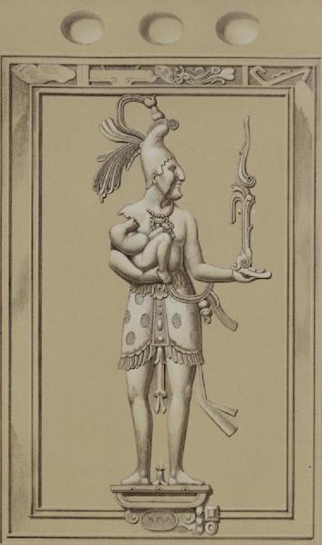 Monuments anciens du Mexique - Pt. XL (guache) - Homme tenant un enfant (1866)