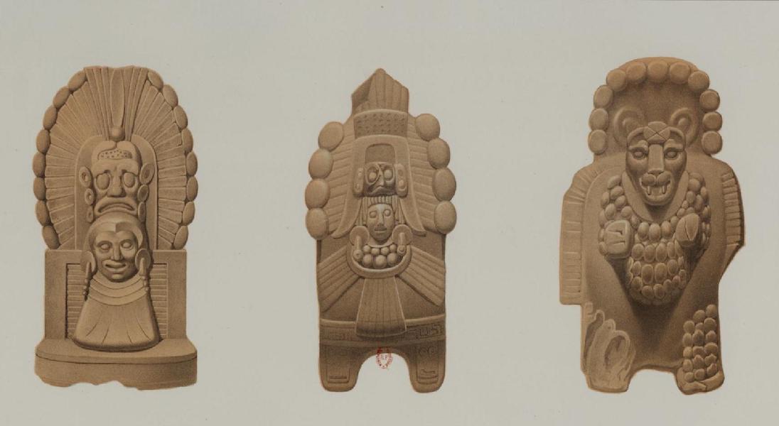 Monuments anciens du Mexique - Pt. XLVII - Trois terres cuites (1866)
