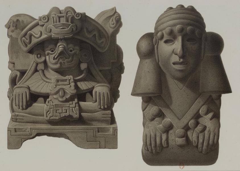 Monuments anciens du Mexique - Pt. LII - A droite, idole en pierre, et a guache, cassolettes en terre cuite, du Musee de Mexico (1866)