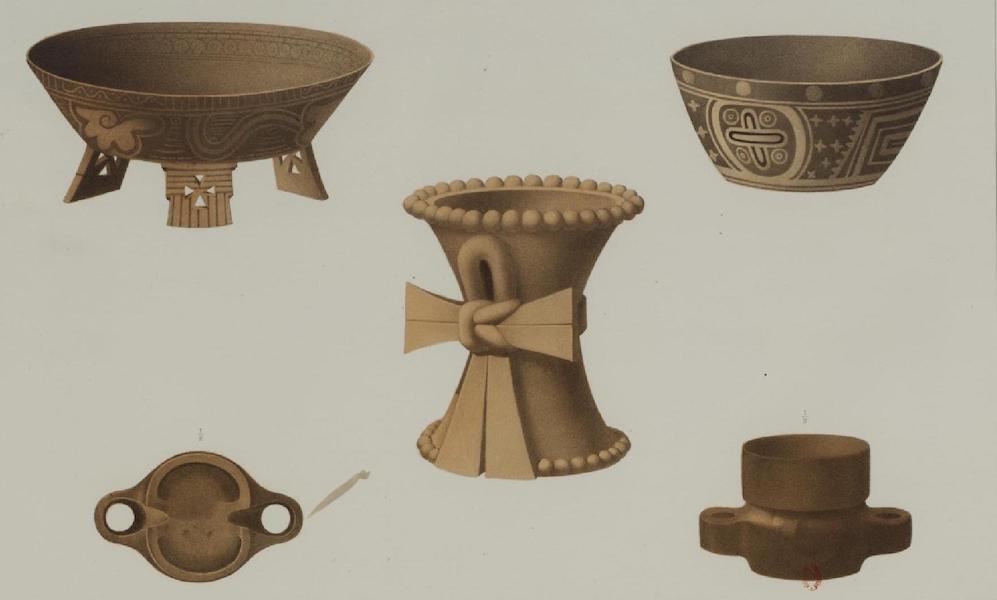 Monuments anciens du Mexique - Pt. LV - Quatre cassolettes en poterie du Musee de Mexico (1866)