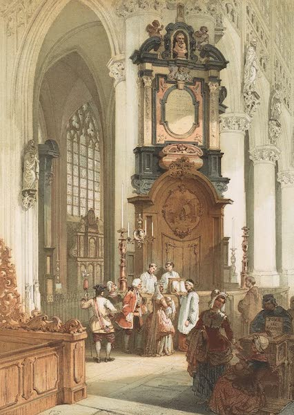 Monuments d'Architecture et de Sculpture en Belgique Vol. 1 - Interieur de l'Eglise Notre Dame du Sablon a Bruxelles (1860)