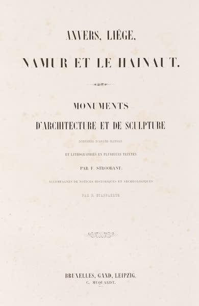 Monuments d'Architecture et de Sculpture en Belgique Vol. 2 - Title Page (1860)