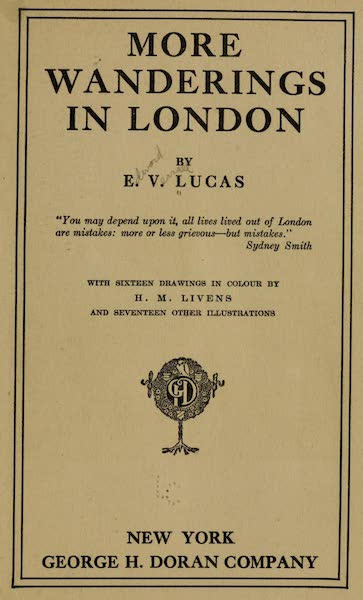 More Wanderings in London - Title Page (1916)