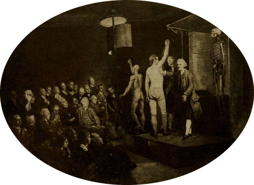 More Wanderings in London - William Hunter Lecturing on Anatomy. Zoffany (Royal College of Physicians) (1916)