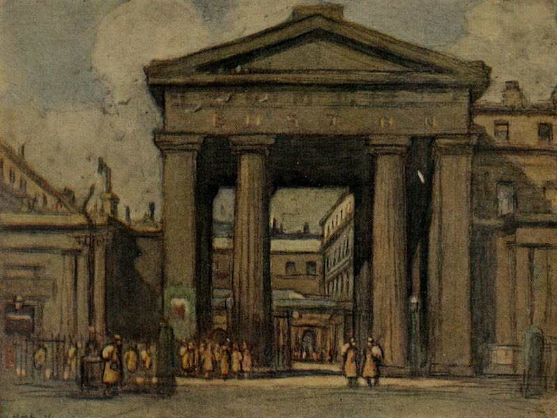 More Wanderings in London - Euston Station, Main Entrance (1916)