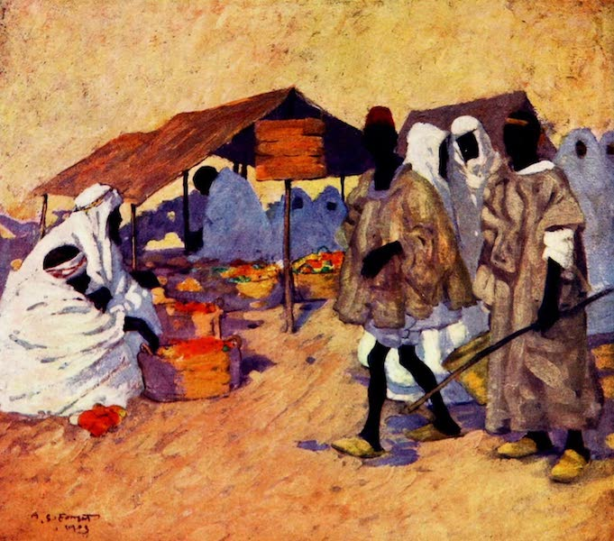 Morocco, Painted and Described - Fruit Market, Marrakesh (1904)
