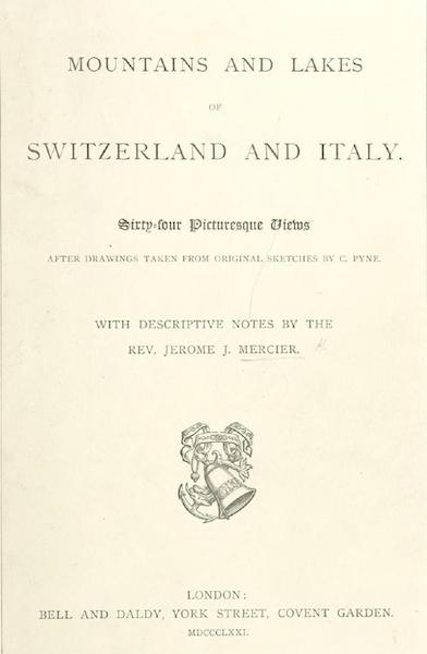 Mountains and Lakes of Switzerland and Italy - Title Page (1871)