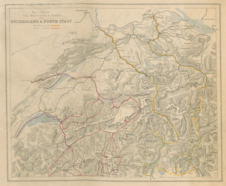 Mountains and Lakes of Switzerland and Italy - Map to Illustrate the Mountains and Lakes of Switzerland and Italy (1871)