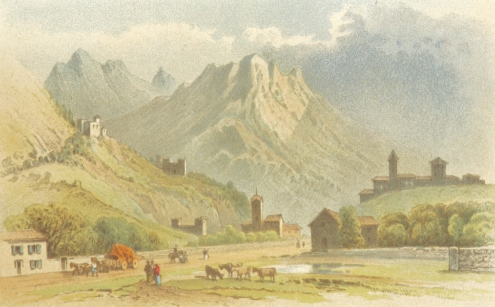 Mountains and Lakes of Switzerland and Italy - Approach to Bellinzona (1871)