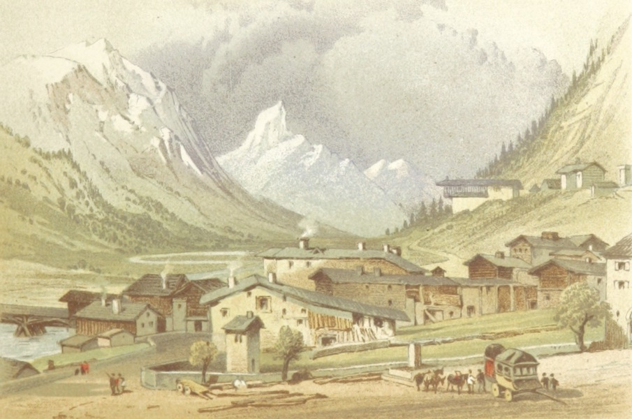 Mountains and Lakes of Switzerland and Italy - The Village of Splugen (1871)