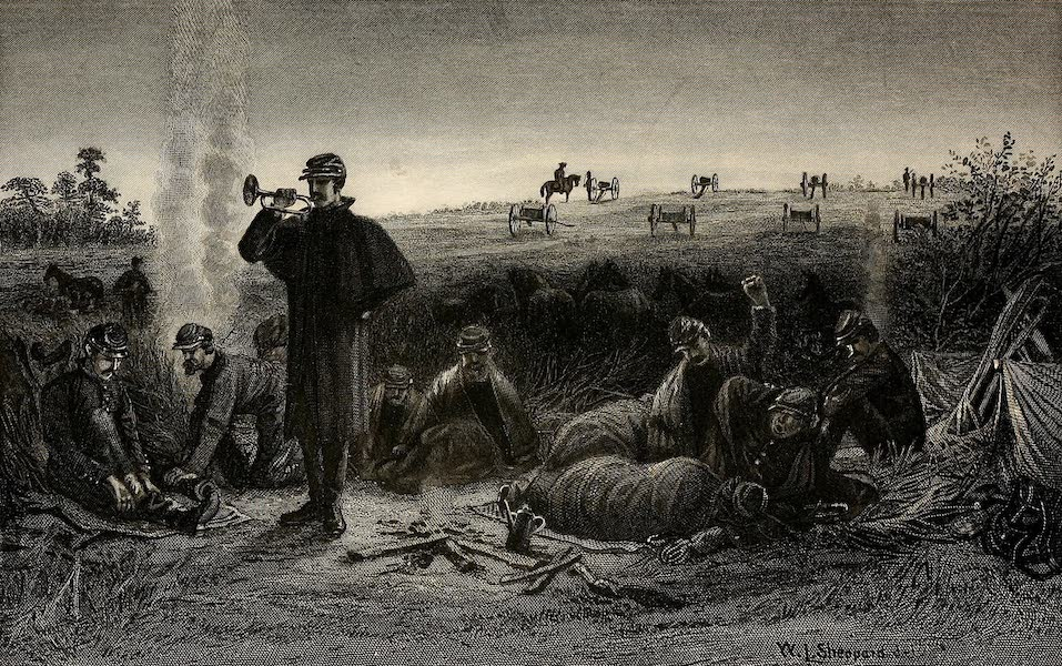 My Story of the War - Our battery at the front. Reveille after an anxious night (1889)