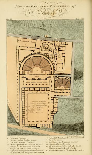 Naples and the Campagna Felice - Plan of the Barracks, Theatres &c, of Pompeii (1815)