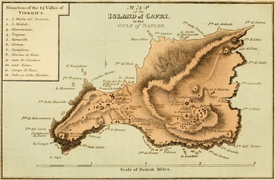 Naples and the Campagna Felice - Map of the Island of Capri in the Gulf of Naples (1815)