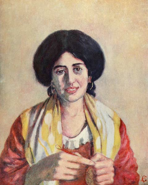 Naples, Painted and Described - Woman Knitting, Neapolitan Type (1904)