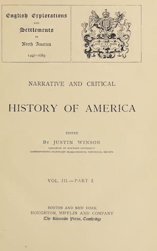 New World - Narrative and Critical History of America Vol. 3, Pt. 1