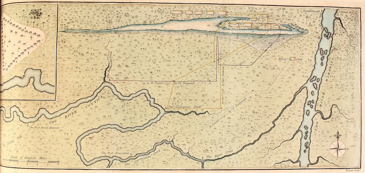 Plan of the Principal Field of Action between the Rivers Cottica and Marawina; with a Sketch of the manner of Encamping in the Woods of Surinam