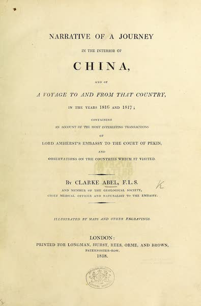 Narrative of a Journey in the Interior of China - Title Page (1818)