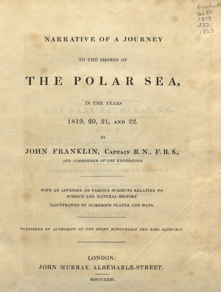 Narrative of a Journey to the Shores of the Polar Sea - Title Page (1823)
