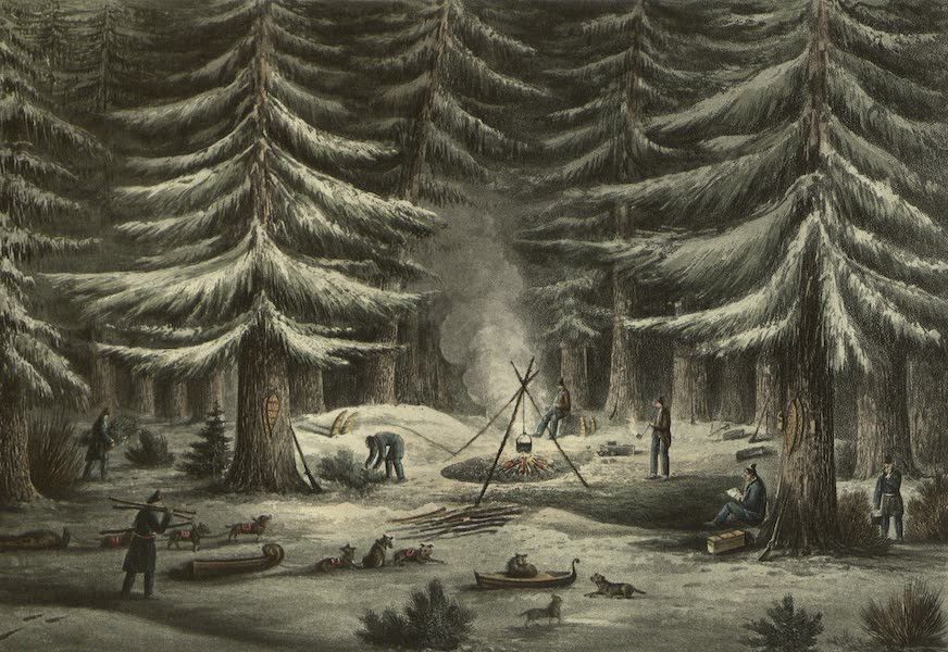 Narrative of a Journey to the Shores of the Polar Sea - Manner of Making a Resting Place on a Winters Night. March 15th, 1820 (1823)