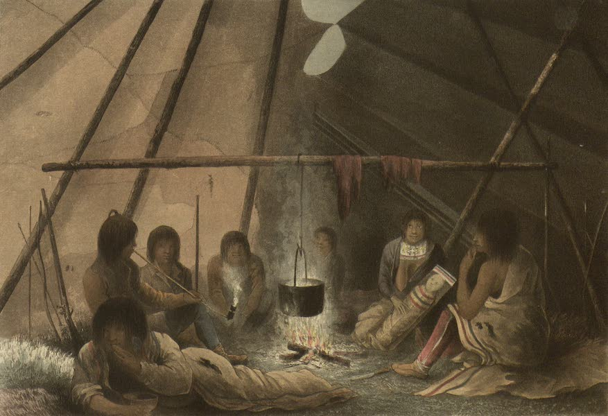 Narrative of a Journey to the Shores of the Polar Sea - Interior of a Cree Indian Tent. March 25th, 1820 (1823)