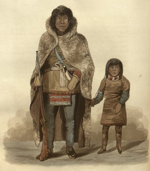 Narrative of a Journey to the Shores of the Polar Sea - Portrait of Akaitcho and his son. (1823)