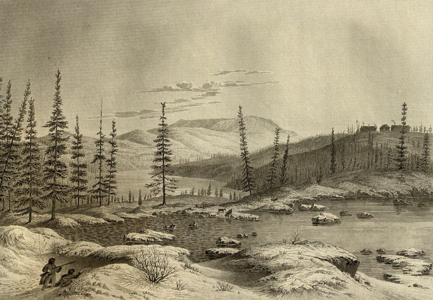 Narrative of a Journey to the Shores of the Polar Sea - Winter View of Fort Enterprise (Snow Melting) May 13th, 1821 (1823)