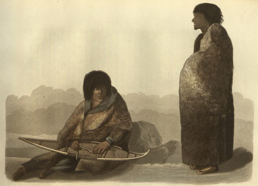 Narrative of a Journey to the Shores of the Polar Sea - Keskarrah, a Copper Indian guide and his daughter Green Stockings mending a snow-shoe  (1823)