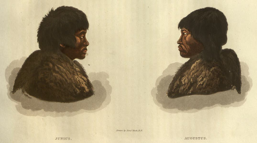 Narrative of a Journey to the Shores of the Polar Sea - Portraits of Two Eskumaux Interpreters - Junius and Augustus (1823)