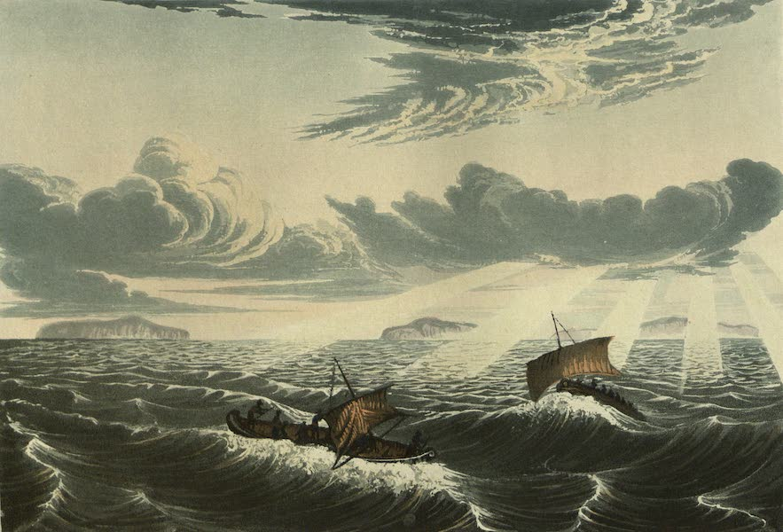 Narrative of a Journey to the Shores of the Polar Sea - Canoe Broaching to in a Gale of Wind at Sunrise. Aug. 23, 1821 (1823)