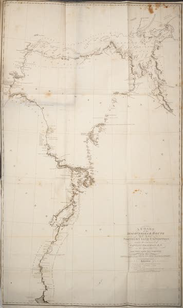 Narrative of a Journey to the Shores of the Polar Sea - A Chart of the Discoveries and Route of the Northern Land Expedition (1823)