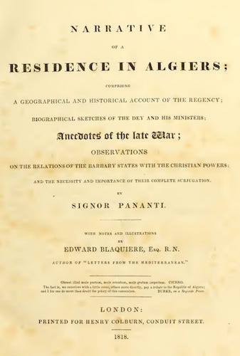 Narrative of a Residence in Algiers (1818)