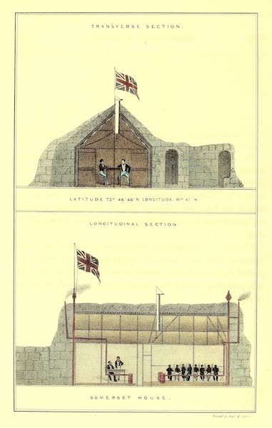 Narrative of a Second Voyage in Search of a North-West Passage Vol. 1 - Transverse Section and Longitudinal Section of Somerset House (1835)