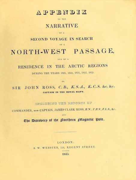 Narrative of a Second Voyage in Search of a North-West Passage Vol. 2 - Title Page (1835)
