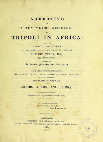 Wellcome Collection - Narrative of a Ten Years Residence at Tripoli in Africa