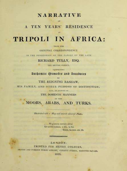 Narrative of a Ten Years Residence at Tripoli in Africa - Title Page (1816)