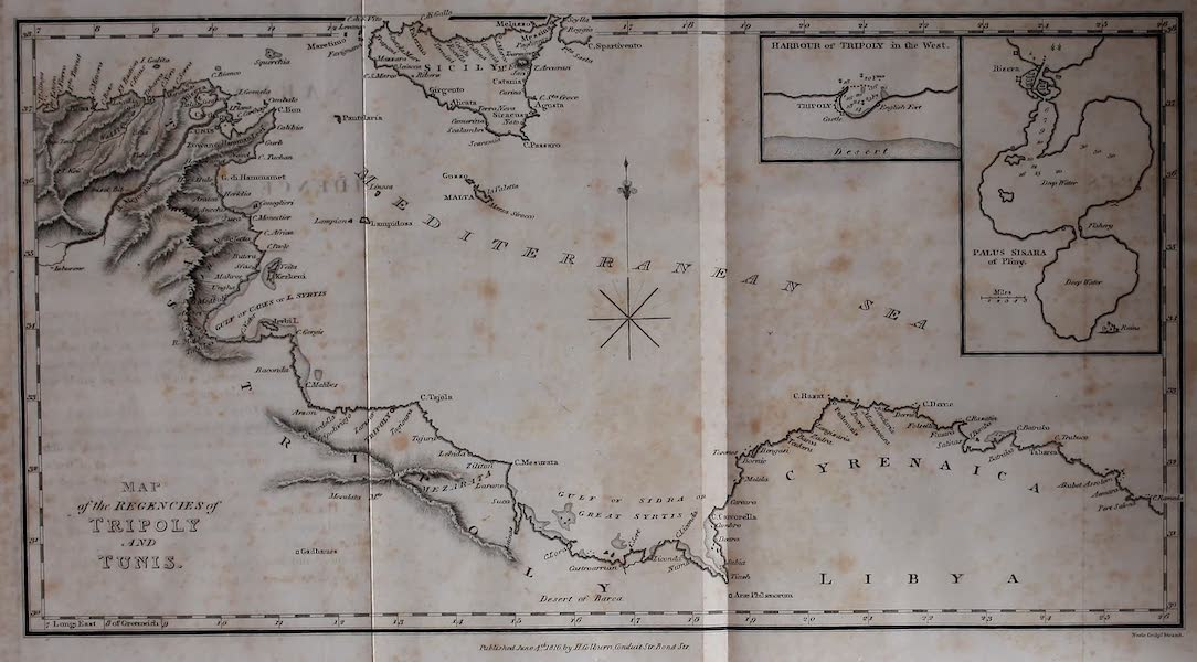 Narrative of a Ten Years Residence at Tripoli in Africa - Map of the Regencies of Tripoly and Tunis (1816)