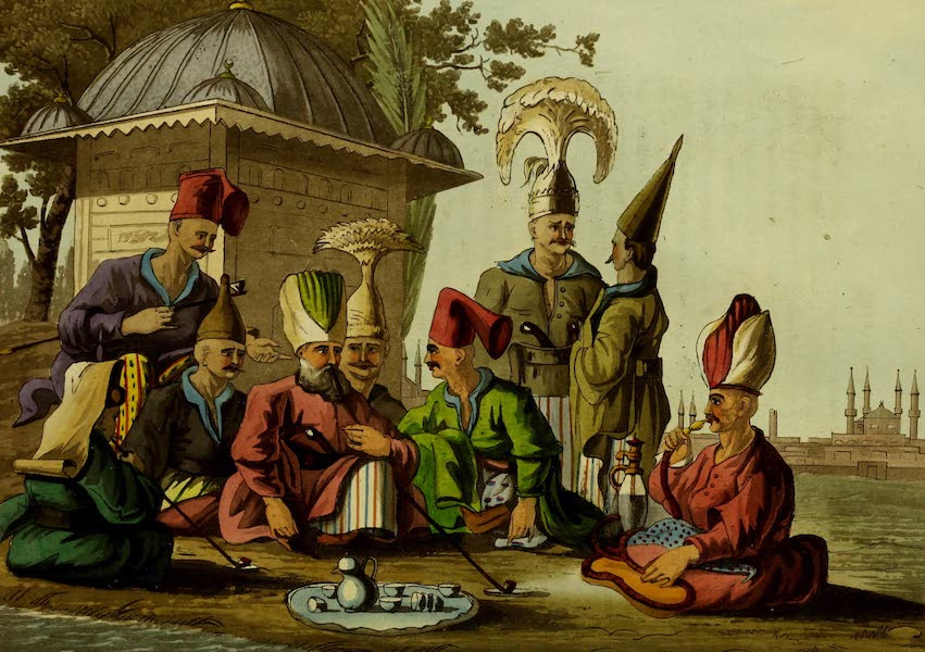 Narrative of a Ten Years Residence at Tripoli in Africa - Officers of the Grand Seraglio Regaling (1816)