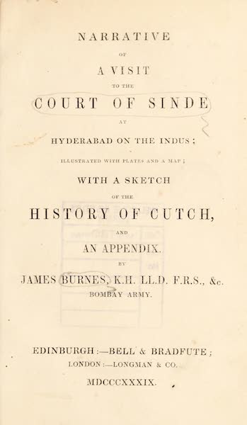 Narrative of a Visit to the Court of Sinde - Title Page (1839)