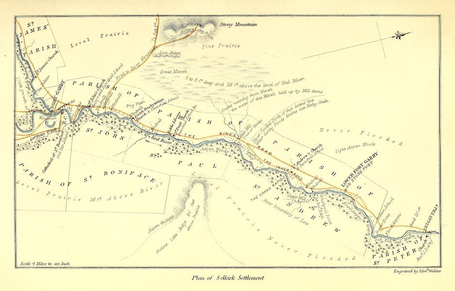 Narrative of the Canadian Red River Exploring Expedition Vol. 1 - Plan of Selkirk Settlemnet (1860)