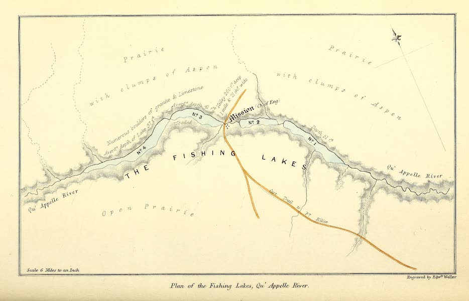 Narrative of the Canadian Red River Exploring Expedition Vol. 1 - Plan of the Fishing Lakes, Quappelle River (1860)